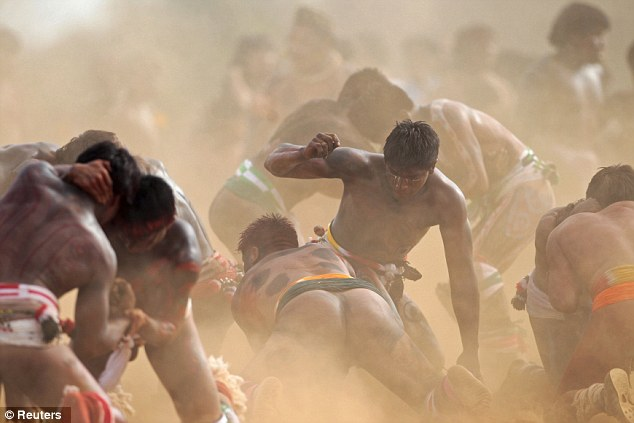 Event: Dozens of men were involved in the wrestling activities during the quarup ritual