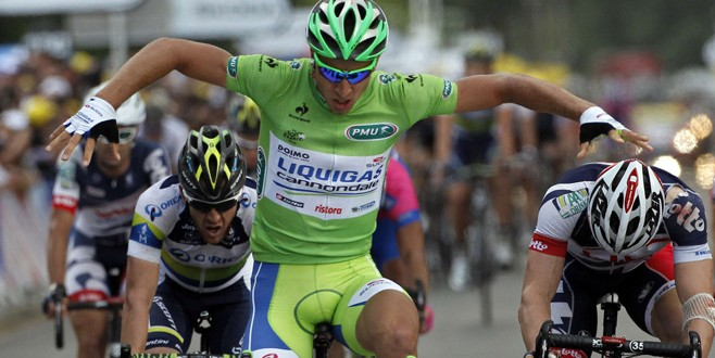 Liquigas-Cannondale rider Sagan of Slovakia reacts as he wins the sixth stage of the 99th Tour de France cycling race between Epernay and Metz